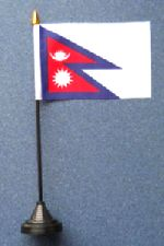 Nepal Table Flag with Stick and Base