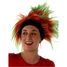 Red & Green Wig with Headband