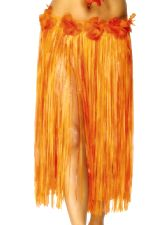Hawaiian Skirt, Orange and Red with Flowers