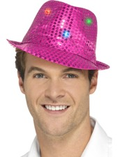 Flashing Sequin Gangster Hat - Pink