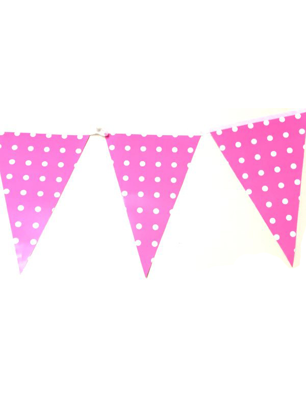 Pink with White Dot Bunting