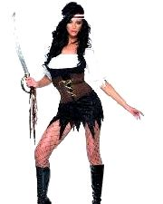 Fever Pirate Costume With Dress, Bodice And Headpiece
