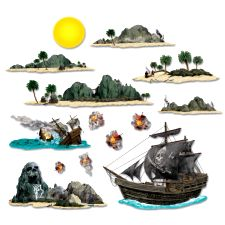 Pirate Ship And Island Props (14 in a pack)