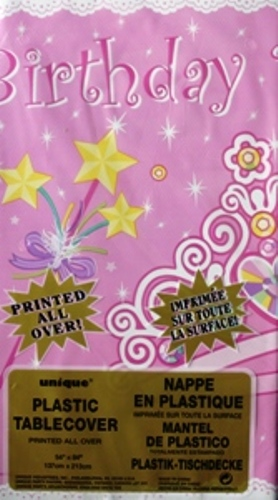 """Birthday Princess Party Plastic Leak-Proof Tablecover Size 54"""" x 96""""."""