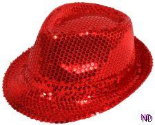 Sequin Gangster Hat - Red
