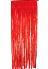 Foil Slashed Curtains Red