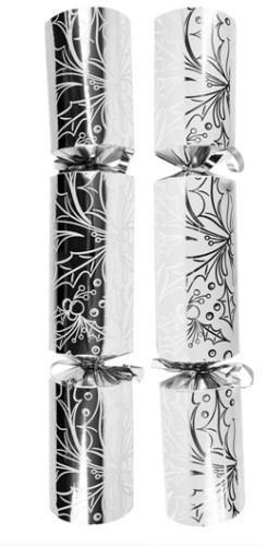 "12"" Silver & White Holly Design Cracker - 25"