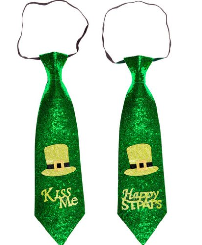 St Patrick's Day Green Glitter Tie