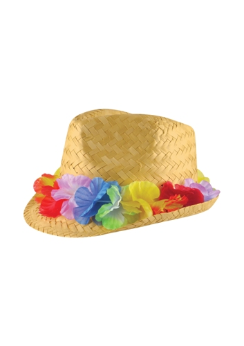 Straw Trilby Hat with Flower Band