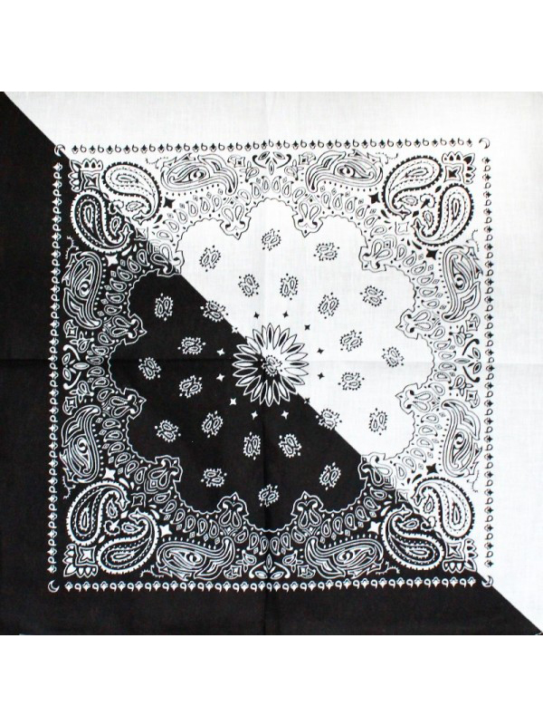 Two-Tone Black and White Bandana