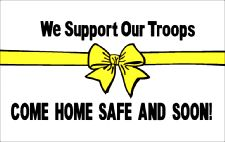 Support Our Troops White Flag 5ft x 3ft With Eyelets