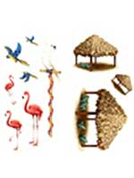Tiki Hut and Tropical Bird Props (10 In A Pack)