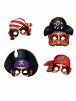 Pirate Masks Cardboad With Elastic Holds (4/pkg)