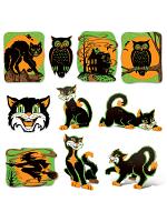 """Vintage Halloween Fluorescent Cutouts 8½""""-13¾"""""""