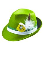 Bavarian Oktoberfest Green Fedora Hat