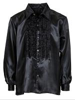 SATIN RUFFLE SHIRT - BLACK