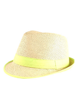 Straw Fedora Hat with Neon Green Trim