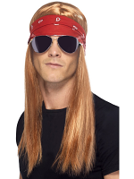 90'S Rocker Kit, With Auburn Wig With Bandana and Sunglasses