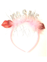 Headbopper 'KISS ME' Pink Furry with Iridescent Red Lips