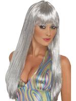 Glitter Disco Wig,Silver