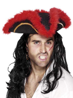 Pirate/Tricorn Hat - Red Feather - Adult - Felt  (Quantity 1)