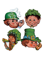 St Patricks Card Cutout Faces