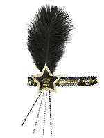 Black-Gold Happy New Year Glitter Star Sequin Headband