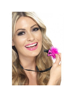 Hen Party Whistle Fuchsia Black L-Plate Design With Black Marabou Trim