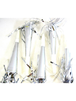 Silver Foil Party Horns with Tinsel Tassel