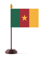 Cameroon Table Flag with Base and Stick