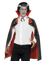 Pvc Reversible Vampire Cape, Black and Red