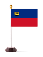 Liechtenstein Table Flag with Stick and Base