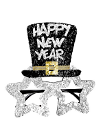 Silver Happy New Year Glasses