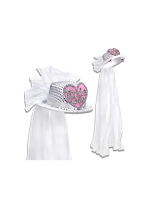 Bride To Be Heart Sequin Top Hat With Bridal Veil