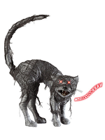Zombie Cat W/Red Flashing Light Eyes & Evil Meow
