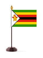 Zimbabwe Table Flag with Stick and Base