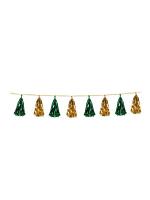 Gold and Green Metallic Tassel Garland