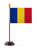 Romania Table Flag with Stick and Base