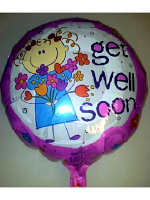 "Foil Balloon 'GET WELL SOON' Pink With Flowers 18"" (Requires Helium)"