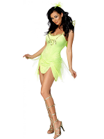 Fever Mystical Fairy Costume, Green With Dress, Wings And Headpiece