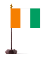 Ivory Coast Table Flag with Stick and Base