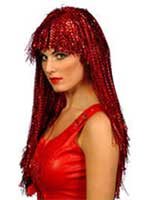 Long Red Crinkle Wig 23""
