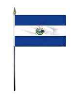 El Salvador Table Flag with Stick and Base