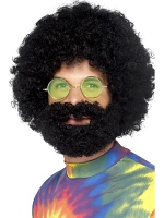 Groovy Dude Afro Wig and Beard,Black
