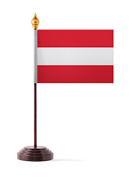 Austria Table Flag with Stick and Base