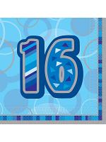 Birthday Glitz Blue - 16th Birthday - Luncheon Napkins