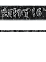 Birthday Glitz Black & Silver 16th Birthday Prism Banner