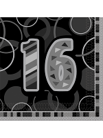 Birthday Glitz Black & Silver 16th Birthday - Luncheon Napkins
