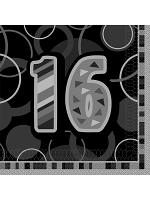 Birthday Glitz Black & Silver 16th Birthday - Luncheon Napkins