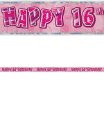 Birthday Glitz Pink 16th Birthday Prism Banner